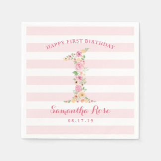 Watercolor Floral One First Birthday Paper Napkin