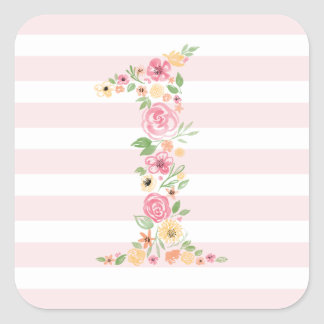Watercolor Floral One First Birthday Square Sticker