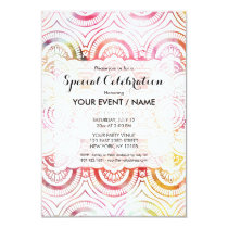 Watercolor floral pattern mandala handdrawn custom invitation
