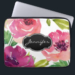 "Watercolor Floral Pattern Monogrammed Computer Sleeve<br><div class=""desc"">A beautifully feminine watercolor rose pattern in shades of pink and purple and customized with your name. Protect your laptop or tablet device with a beautiful and stylish case. Replace the sample text shown in the design template with your name, monogram or other text. To change the font or move...</div>"
