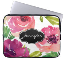 Watercolor Floral Pattern Monogrammed Computer Sleeve