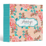 Watercolor Floral Pattern Recipe Aqua Peach Flower Binder