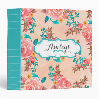 Watercolor Floral Pattern Recipe Aqua Peach Flower Binder
