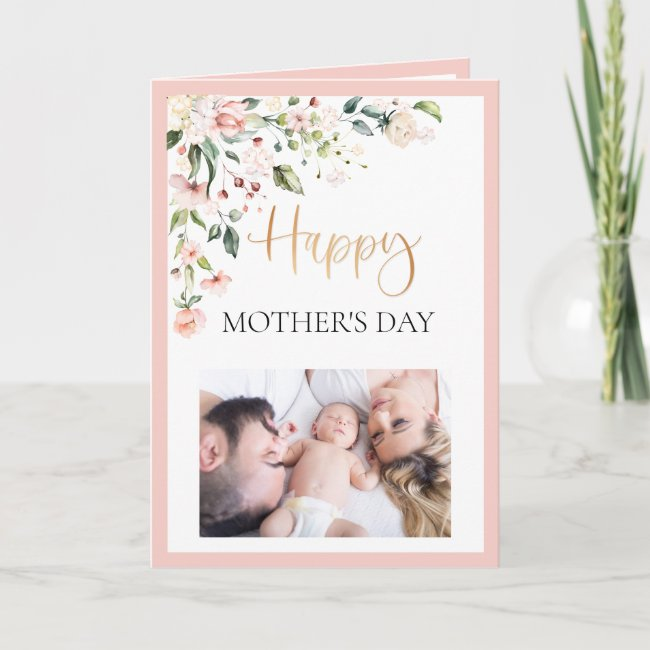 Watercolor Floral Peach Pink Mother's Day Photo Card