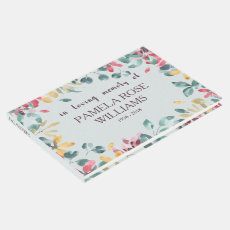 Watercolor Floral Personalised Funeral Guest Book