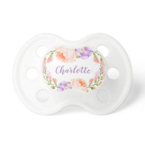 Watercolor Floral Personalized Baby Name Pacifier