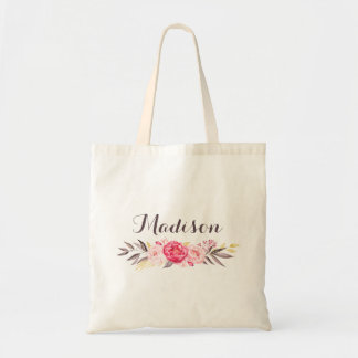 Watercolor Floral Personalized Girls Canvas Tote