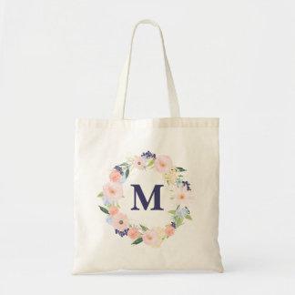 Watercolor Floral Personalized Monogram Canvas Bag