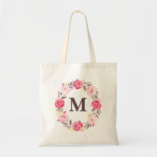 Watercolor Floral Personalized Monogram Canvas Bag