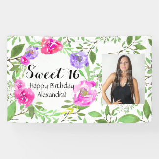 Watercolor Floral Photo Sweet 16 Birthday Party Banner