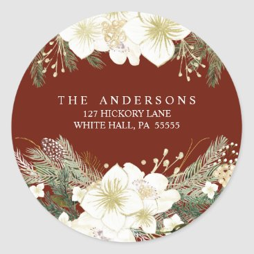 Christmas Themed Watercolor Floral Pines Christmas Holiday Address Classic Round Sticker