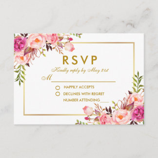 Watercolor Floral Pink Blush Gold RSVP Wedding