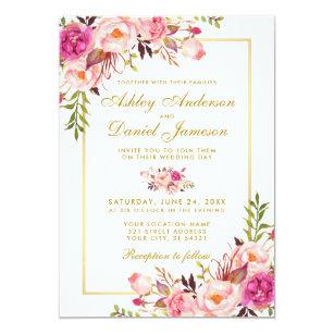 Watercolor Fl Pink Blush Gold Wedding Invitation
