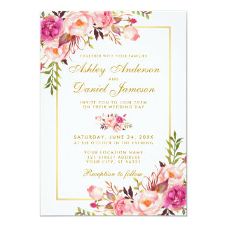 Watercolor Floral Pink Blush Gold Wedding Invitation