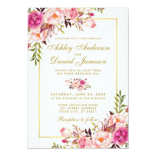 Gold And Blush Wedding Invitations: Watercolor Floral Pink Blush Gold Wedding Invitation