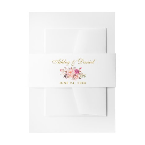 Watercolor Floral Pink Blush Gold Wedding Invitation Belly Band