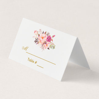 Watercolor Floral Pink Blush Gold Wedding Place Card