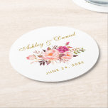 "Watercolor Floral Pink Blush Gold Wedding Round Paper Coaster<br><div class=""desc"">Watercolor Floral Pink Blush Gold Wedding Coaster</div>"