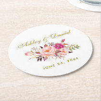 Watercolor Floral Pink Blush Gold Wedding Round Paper Coaster