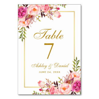 Watercolor Floral Pink Blush Gold Wedding Table Number
