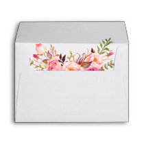 Watercolor Floral Pink Blush Wedding Envelope