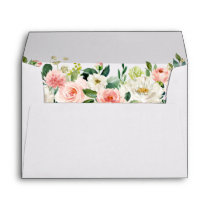 Watercolor Floral Pink Blush White Wedding Envelope