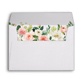 Watercolor Floral Pink Blush White Wedding Envelope