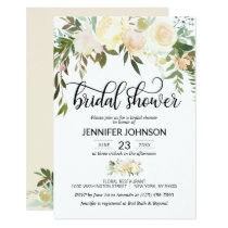 Watercolor Floral Pink Cream Ivory Bridal Shower Card