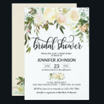 """Watercolor Floral Pink Cream Ivory Bridal Shower Invitation<br><div class=""""desc"""">Simply elegant floral rustic bouquet design in watercolor (watercolour) green greenery,  blush pink,  beige,  champagne,  vanilla,  peach,  white flower roses / peony on white background and black letters.  Delicate wedding bridal shower invitations for that spring or summer theme.  Perfect outdoor cards.  Back of card has future mrs.name .</div>"""