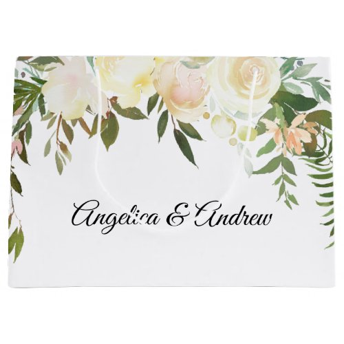 Watercolor Floral Pink Cream Ivory Wedding Shower Large Gift Bag