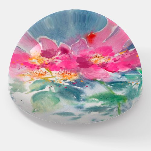 Watercolor Floral Pink Glass Paperweight