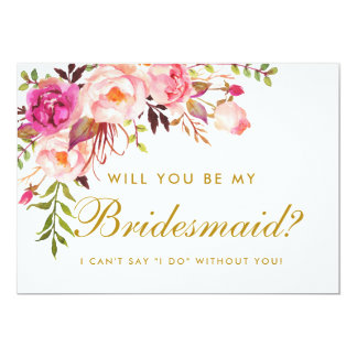 Watercolor Floral Pink Gold Bridesmaid Invitation