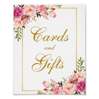 Watercolor Floral Pink Gold Wedding Cards Gifts Poster