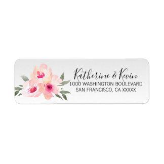 Watercolor Floral Pink Grey Flowers Return Address Label