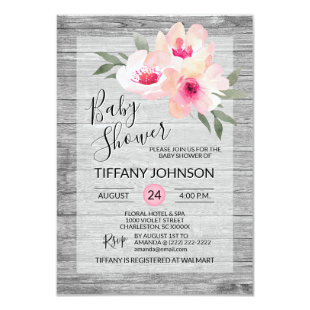 Watercolor Floral Pink Grey Rustic Baby Shower Card