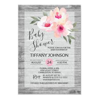 Watercolor Floral Pink Grey Rustic Baby Shower Invitation