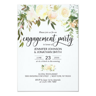 Watercolor Floral Pink Ivory Engagement Party Invitation