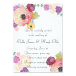 "Watercolor Floral Pink Mint Wedding Invitation 5"" X 7"" Invitation Card"