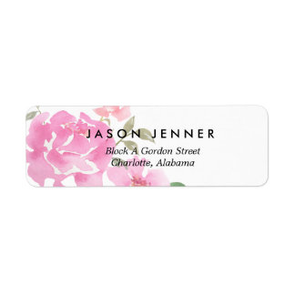 Watercolor Floral Pink Peonies Wedding Chic Label