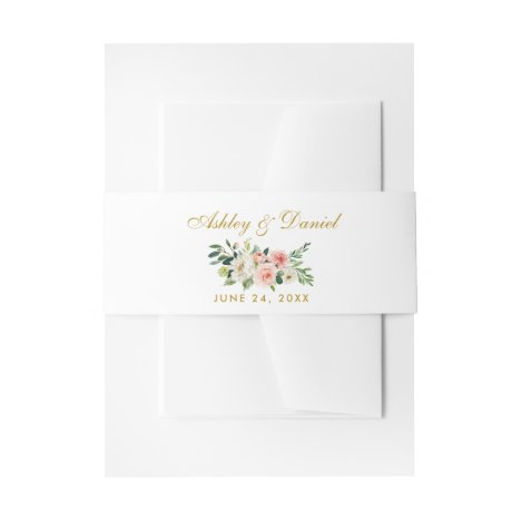 Watercolor Floral Pink White Gold Wedding Invitation Belly Band
