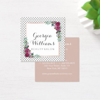 Watercolor floral polka dots square business card