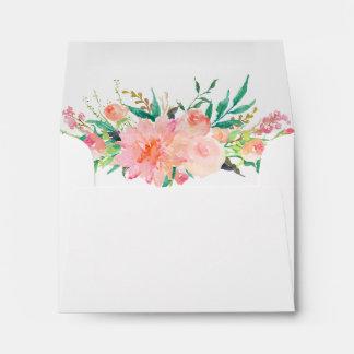 Watercolor Floral Pre-Addressed Wedding RSVP Envelope