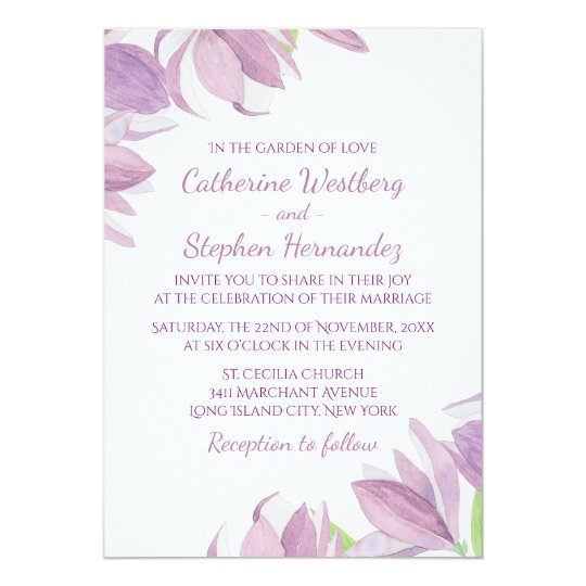 Watercolor Floral Purple Lavender Flower Wedding Card