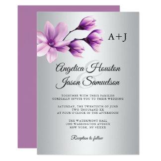 Watercolor Floral Purple Lavender Grey Wedding Invitation