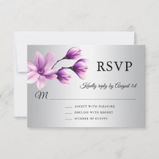 Watercolor Floral Purple Lavender Grey Wedding RSVP Card