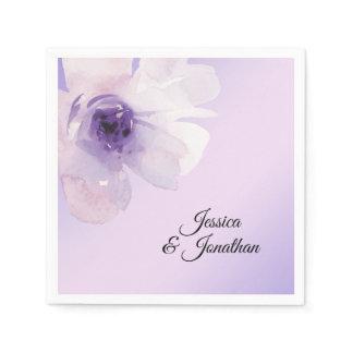 Watercolor Floral Purple Violet Lavender Wedding Napkin