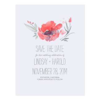 Watercolor Floral Romantic Save the Date Postcard
