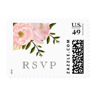 Watercolor Floral RSVP Wedding Postage Stamps