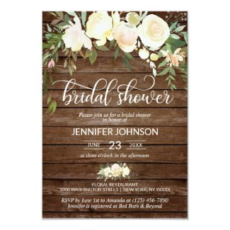 Watercolor Floral Rustic Pink Ivory Bridal Shower Invitation