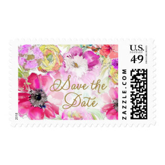 Watercolor Floral Save the Date Stamp